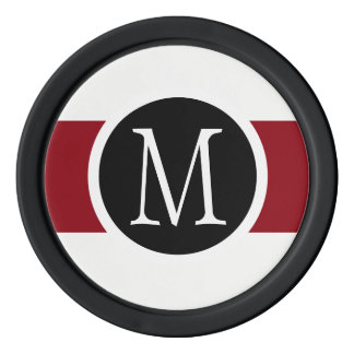 Stylishly Elegant Black, White & Red Line Monogram Poker Chips