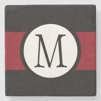 Stylishly Elegant Black, White & Red Line Monogram Stone Coaster