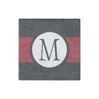 Stylishly Elegant Black, White & Red Line Monogram Stone Magnet