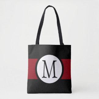 Stylishly Elegant Black, White & Red Line Monogram Tote Bag