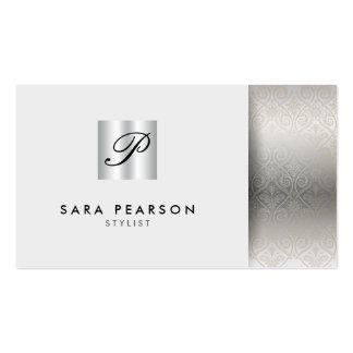 Stylist Elegant Chrome Monogram Silver Damask Business Cards