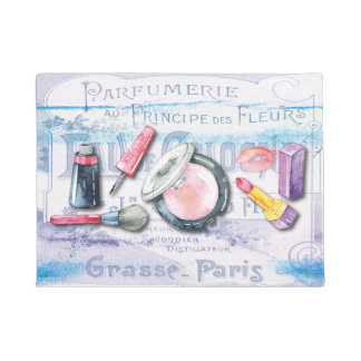 Stylist Makeup Cosmetics Perfume Watercolor Chic Doormat