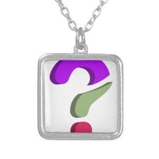 Stylized 3d question mark square pendant necklace