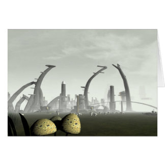 Stylized Alien City Card