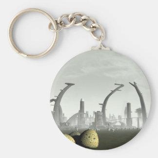 Stylized Alien City Keychain