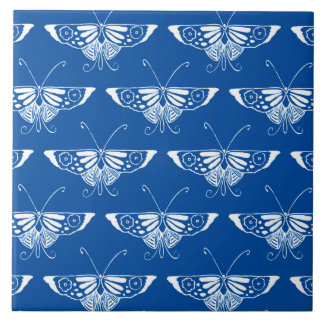 Stylized Art Deco butterfly, cobalt blue and white Ceramic Tile
