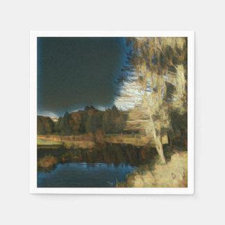 Stylized Autumn Countryside Landscape Paper Napkin