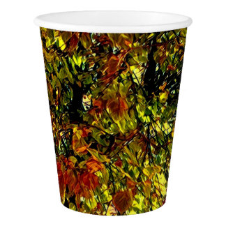 Stylized Autumn Tree Leaves Paper Cup