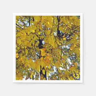 Stylized Autumn Tree Painting Paper Napkin