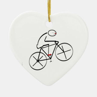 Stylized Bicyclist Design Ceramic Heart Decoration