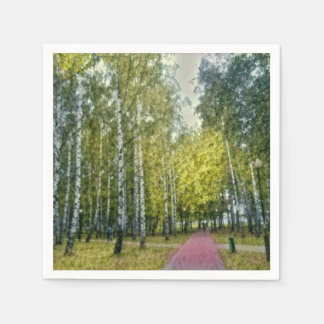 Stylized Birch Trees Painting Paper Napkin