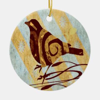 Stylized Bird and Swirls Round Ceramic Decoration