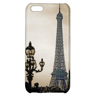 Stylized Black & white image of the Eiffel Tower Cover For iPhone 5C