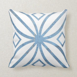 Stylized Blue and White Floral American MoJo Pillo Throw Pillow