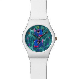 Stylized blue fish watches