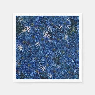 Stylized Blue Flowers Paper Napkin