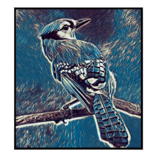 Stylized Blue Jay Series - Number 1 Poster