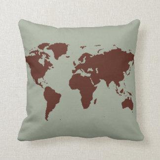 stylized brown world map cushion