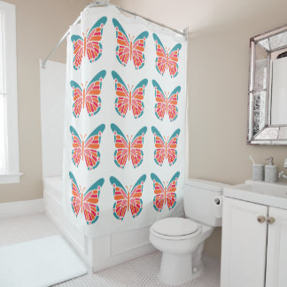 Stylized Butterflies shower curtain