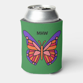 Stylized Butterfly custom monogram can cooler