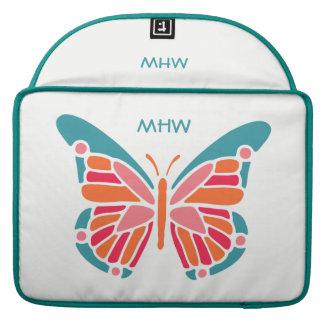 Stylized Butterfly custom monogram MacBook sleeves