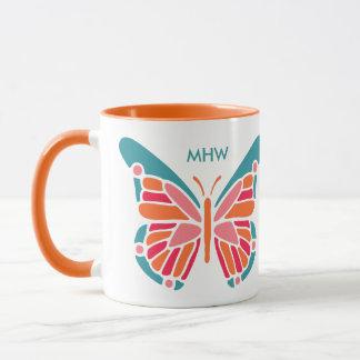 Stylized Butterfly custom monogram mugs