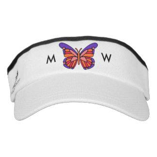 Stylized Butterfly custom monogram visors