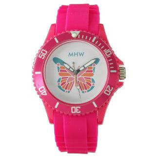 Stylized Butterfly custom monogram watches