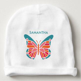 Stylized Butterfly custom name baby beanie