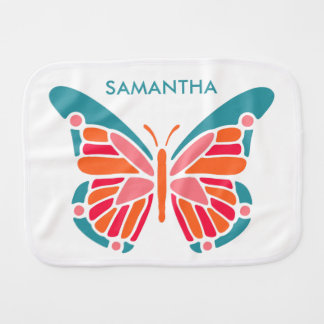 Stylized Butterfly custom name burp cloth