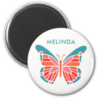 Stylized Butterfly custom name magnets