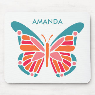 Stylized Butterfly custom name mousepad