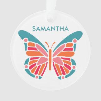 Stylized Butterfly custom name ornament