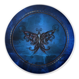 Stylized Butterfly Deep Blue Ceramic Knob