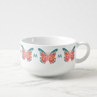 Stylized Butterfly optional monogram soup mug