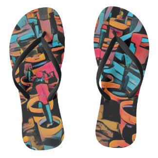 Stylized Cactus Funky Flip Flops Thongs