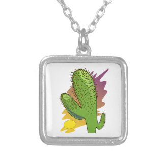 Stylized Cartoon Cactus at Sunset Personalized Necklace
