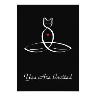 Stylized Cat Meditator 13 Cm X 18 Cm Invitation Card