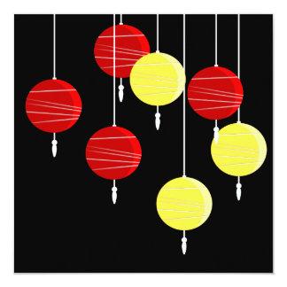 "Stylized Chinese Lanterns Invitation 5.25"" Square Invitation Card"