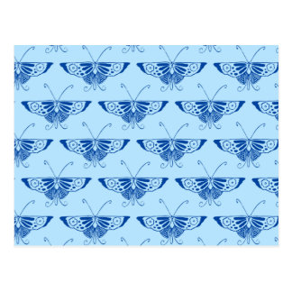 Stylized Deco butterfly  - cobalt and pale blue Post Card
