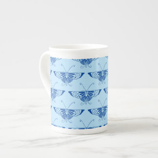 Stylized Deco butterfly  - cobalt and pale blue Bone China Mugs
