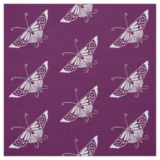 Stylized Deco Butterfly, Eggplant Purple Fabric