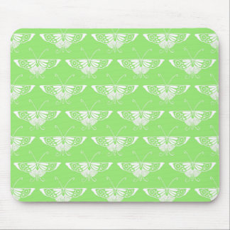Stylized Deco butterfly  - lime green Mouse Pads