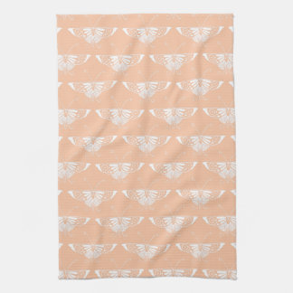 Stylized Deco butterfly  - soft peach Tea Towel