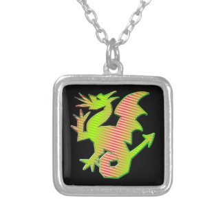 Stylized Dragon Silver Plated Necklace