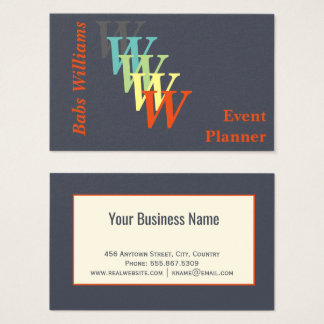 Stylized Event Planner Trendy Charcoal Indigo Business Card