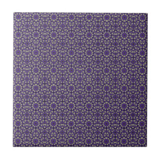 Stylized Floral Check Ceramic Tile