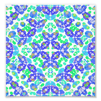 Stylized Floral Check Seamless Pattern Photo Art