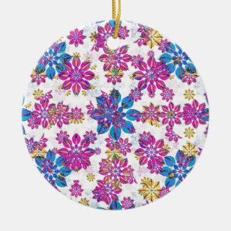 Stylized Floral Ornate Pattern Ceramic Ornament