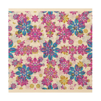 Stylized Floral Ornate Pattern Wood Wall Art
